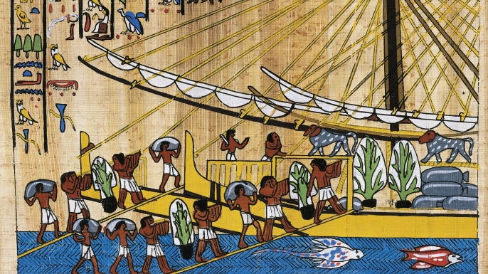 Papyrus showing preparations for an Egyptian journey to Punt. (Credit: De Agostini Picture Library/Getty Images)