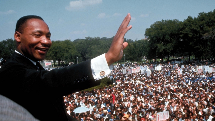 "Martin Luther King Jr. delivering his ""I Have a Dream"" speech at the March on Washington. (Credit: Francis Miller/The LIFE Picture Collection/Getty Images)"