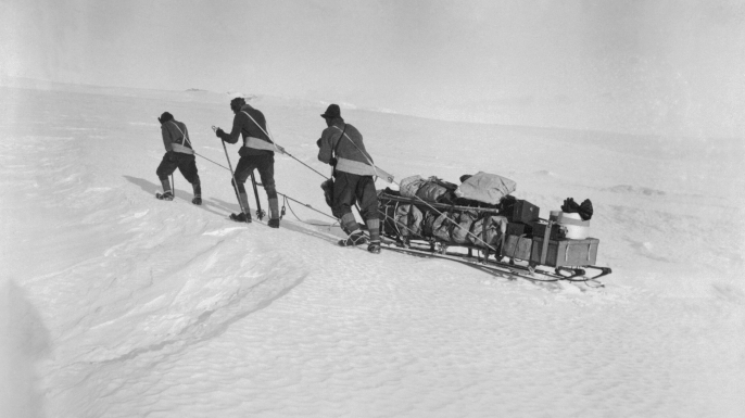 Robert F. Scott and two of his four companions set out for the South Pole pulling a sled. (Credit: Bettmann / Getty Images)