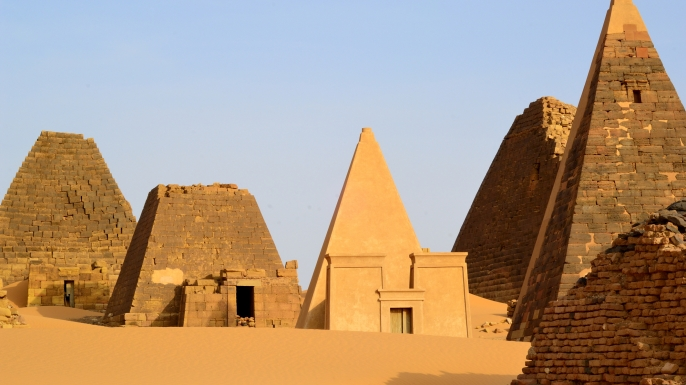 Meroë is an ancient city on the east bank of the Nile app. 200 km north-east of Khartoum, Sudan. (Credit: Yannick Tylle/Getty Images)