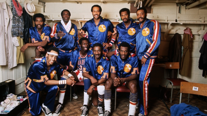 Members of the Harlem Globetrotters basketball team. (Credit: David Reed)