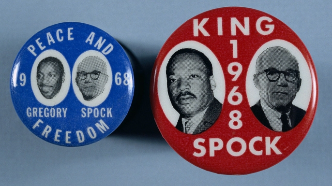 Campaign buttons in support of potential 1968 running mates for Dr. Benjamin Spock. On the left, Spock is featured with comedian and activist Dick Gregory, and Spock is paired with Martin Luther King Jr. (Credit: David J. and Janice L. Frent/Corbis via Getty Images)