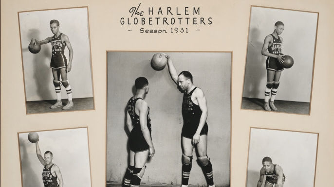 Composite of five photographs of some members of the Harlem Globetrotters basketball team, 1931. (Credit: Chicago History Museum/Getty Images)