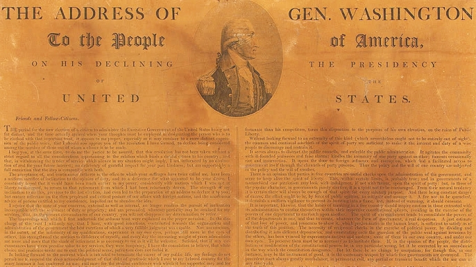 George Washington's farewell address. (Credit: Public Domain)