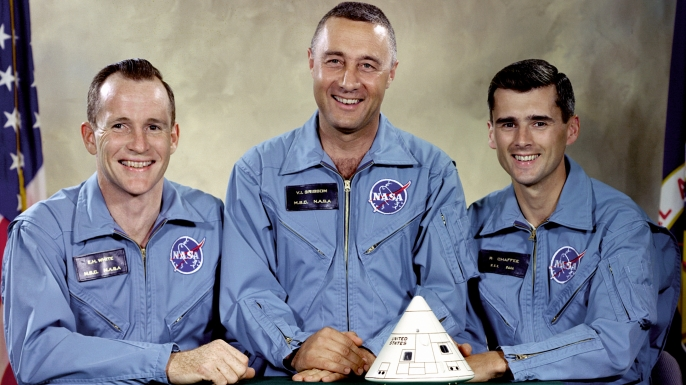 "Portrait of the Apollo 1 prime crew for first manned Apollo space flight, Edward H. White II, Virgil I. ""Gus"" Grissom, and Roger B. Chaffee."