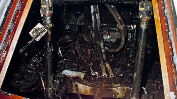The charred remains of the Apollo 1 cabin interior.