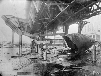 Damage to the elevated railway from the disaster.