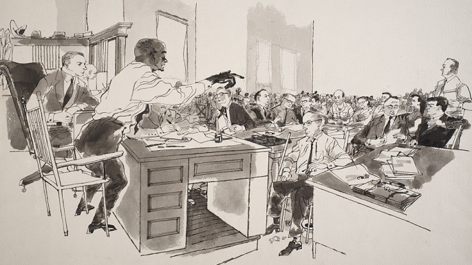 Ink and wash illustration shows Moses Wright as he points out the accused in open court during the trial of J.W. Milam and Roy Bryant.