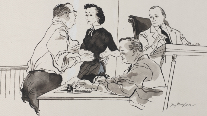 Illustration of Carolyn Bryant testifying during the trial of her husband, Roy Bryant, and J.W. Milam. (