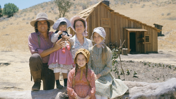 "The cast of the television series ""Little House on the Prairie."" Michael Landon as Charles Ingalls, Lindsay or Sydney Greenbush as Carrie Ingalls, Karen Grassle as Caroline Ingalls, Melisssa Sue Anderson as Mary Ingalls Kendall, Melissa Gilbert as Laura Ingalls Wilder"