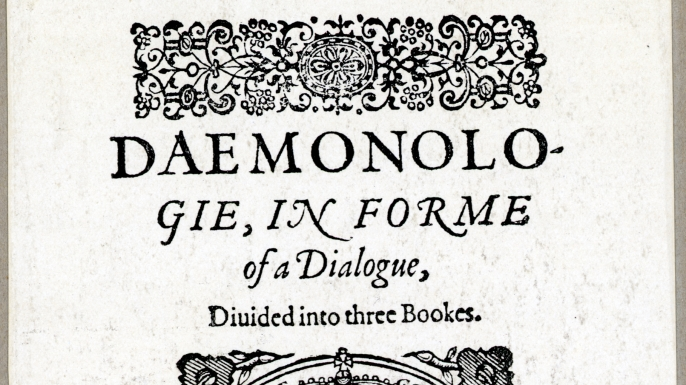 Title page of King James I's Daemonologie. (Credit: Bettmann/Getty Images)
