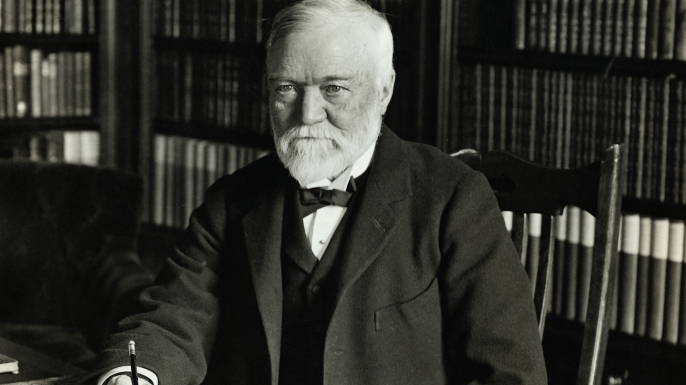 Andrew Carnegie at his desk. (Credit: George Rinhart/Corbis via Getty Images)