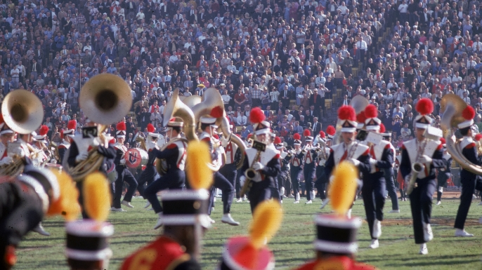 The University of Arizona marching band on the field during the halftime show at Super Bowl I (then the AFL-NFL World Championship Game) on January 15, 1967. (Credit: Robert Riger/Getty Images)