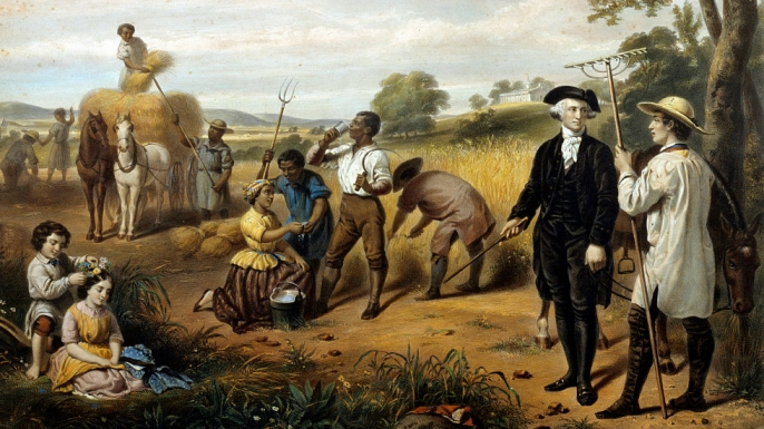 A depiction of George Washington during a harvest