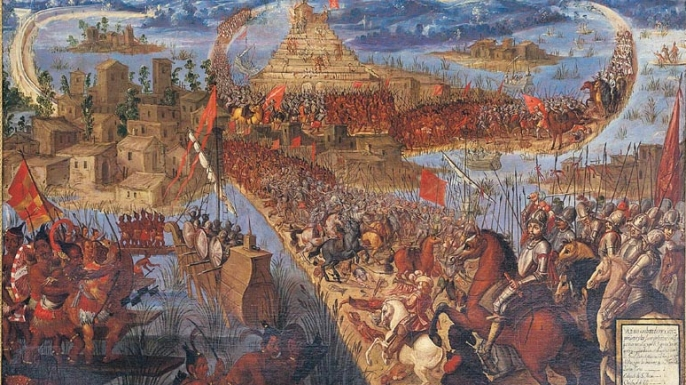 Painting depicting the conquest of Tenochtitlan.