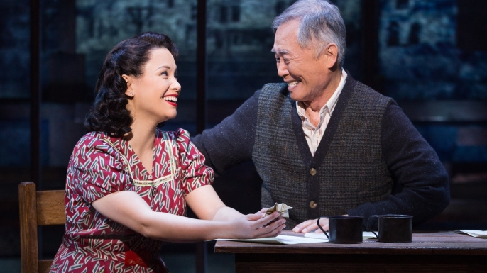 "George Takei and Lea Salonga in ""Allegiance."" (Credit: Matthew Murphy/Fathom Events)"