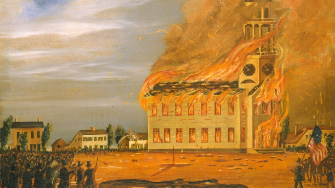 Painting depicting the burning of an Irish Catholic church in Maine. (Credit: National Gallery of Art)