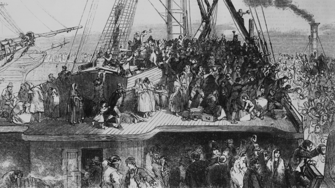 "Illustration of a famine-era ""coffin ship"" carrying passengers. (Credit: Illustrated London News/Hulton Archive/Getty Images)"