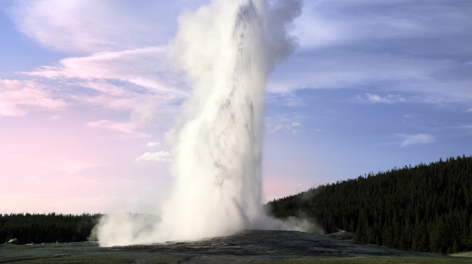 Most popular geyser in the world, the Old Faithful geyser in the Yellowstone National Park. USA. (Credit: SunChan/Getty Images)