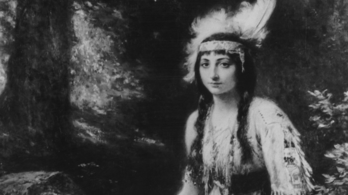 Painting of Pocahontas around the time of her wedding to John Rolfe