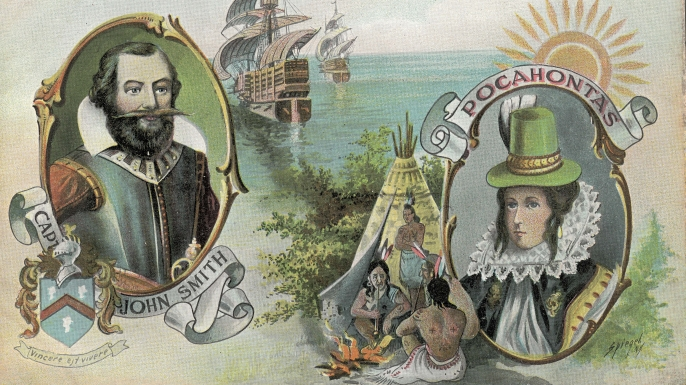 An 18th century postcard depicting John Smith and Pocahontas. (