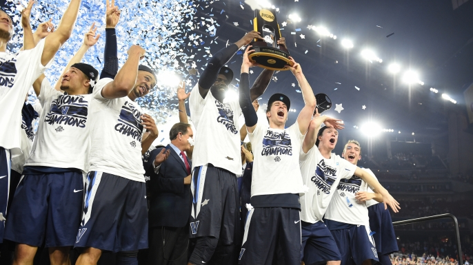 The Villanova Wildcats celebrate after winning the NCAA College Basketball Tournament Championship game against the North Carolina Tar Heels on April 04, 2016.  (Credit: Mitchell Layton/Getty Images)