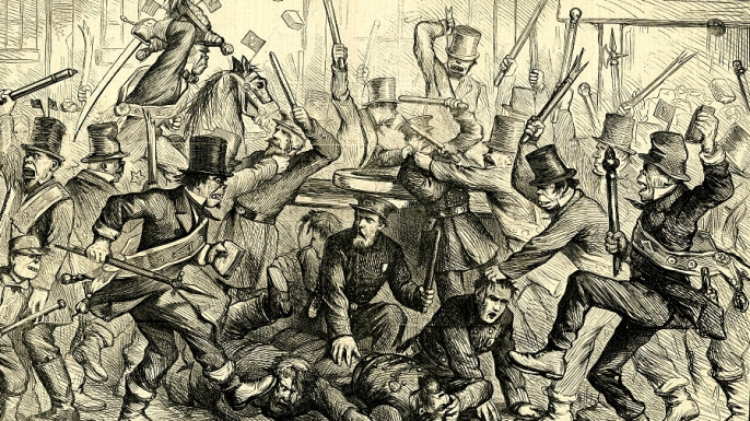 Thomas Nast cartoon depicting violent Irish mobs attacking police officers. (Credit: The New York Historical Society/Getty Images)