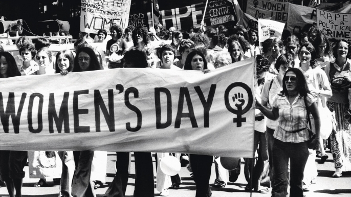 International Women's Day marchers in 1977. (Credit: Fairfax Media/Fairfax Media via Getty Images)