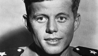 John Kennedy served as a junior grade lieutenant in the Navy during World War Two, commanding the torpedo boat PT-109. When a Japanese destroyer rammed the PT-109 in 1943, Kennedy managed to save himself and rescue another wounded crew member. | Location: indoors. (Photo by © CORBIS/Corbis via Getty Images)
