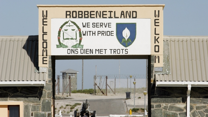 The main gate welcomes on Robben Island near Cape Town, South Africa.  (Credit: Brian Bahr/Getty Images)