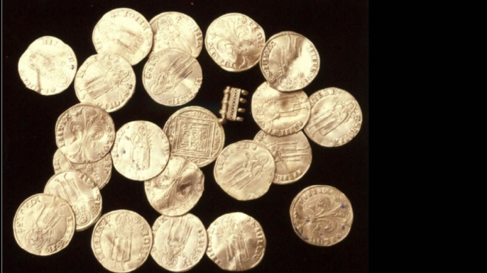 "Gold coins, or ""florins"" found at the shipwreck site"