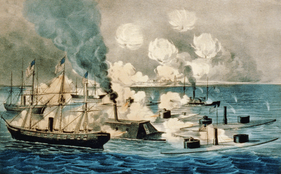 "an introduction to the hampton roads the battle of the ironclads 'the monitor and merrimac: the first fight between ironclads"" chromolithograph of the battle of hampton roads produced by louis prang & co, boston, 1886 public domain."