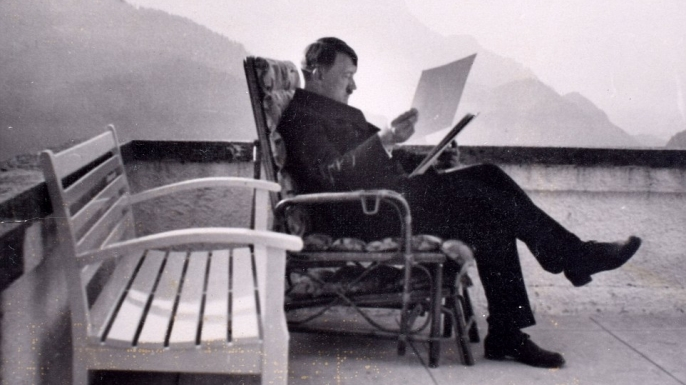 Hitler pictured relaxing on the veranda of the Berghof. (Credit: C&T Auctions)