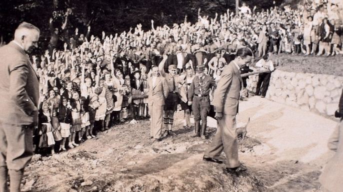 Propaganda minister Joseph Goebbels addresses a crowd. (Credit: C&T Auctions)