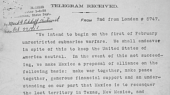 Translated copy of the Zimmerman Telegram.