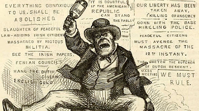 An anti-Irish political cartoon by Thomas Nast.