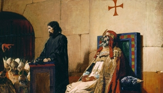 "Painting depicting the ""Cadaver Synod."""
