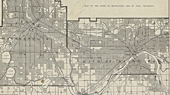 A 1906 map of Minneapolis and St. Paul.