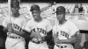 Former Giants Monte Irvin, Willie Mays and Hank Thompson