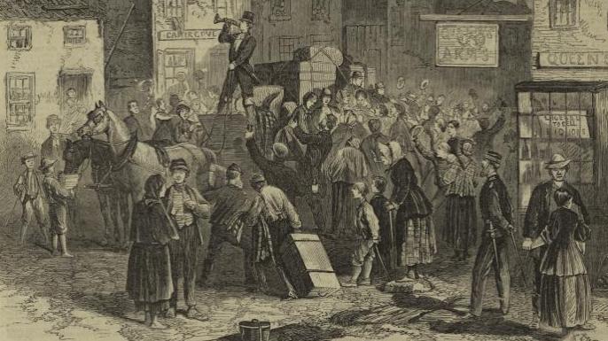 Illustration depicting Irish refugees leaving their homeland. (Credit: New York Public Library)