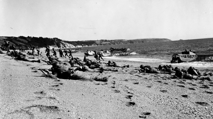 Troops on Slapton Sands beach during the exercise.