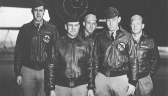 The Doolittle Raid's Crew #1. From left: Lt. Henry A. Potter, navigator; Lt. Col. James H. Doolittle, pilot; SSgt. Fred A. Braemer, bombardier; Lt. Richard E. Cole, copilot; SSgt. Paul J. Leonard, flight engineer/gunner. (Credit: U.S. Air Force)