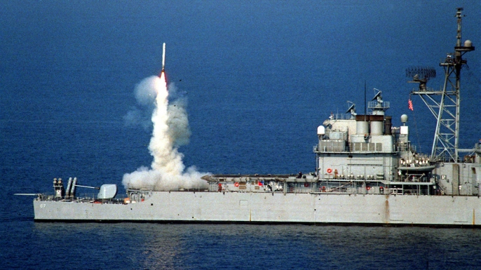 USS Shiloh launching a Tomahawk cruise missile