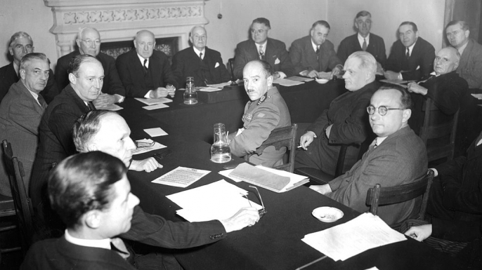 The United Nations War Crimes Commission meets on May 6, 1945, in the Royal Court of Justice in London with members of a U.S. Congressional Committee that had just completed a tour of German concentration camps.