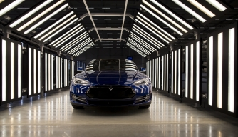 A Tesla Model S during quality control checks ahead in 2015. (Credit: Jasper Juinen/Bloomberg via Getty Images