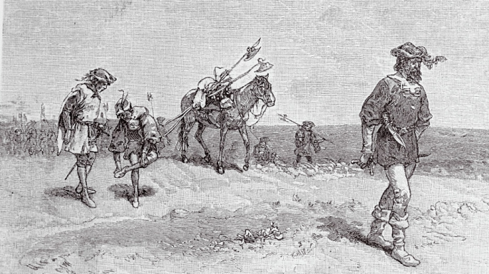 Illustration of de Vaca and his three companions in the West. (