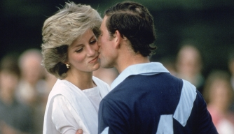 Prince Charles kissing Princess Diana following a polo match in June 1985.