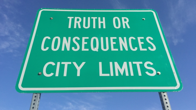 Green city limits sign of Truth or Consequences, NM. (Credit: Andreas Gebhard/Getty Images)