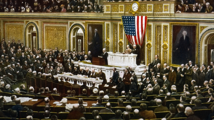 Woodrow Wilson asking Congress to declare war on Germany.