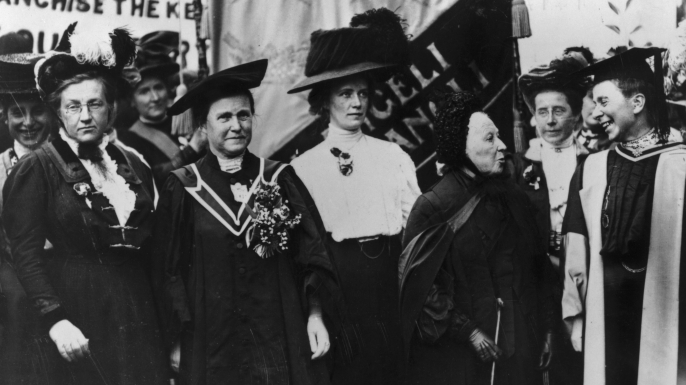 A march of the National Union of Women's Suffrage, 1908. From left to right, Lady Frances Balfour, Millicent Fawcett, Ethel Snowden, Emily Davies and Sophie Bryant. (Credit: Hulton Archive/Getty Images)